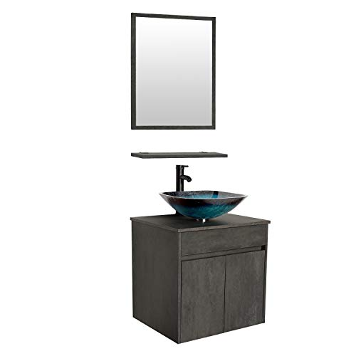 """eclife 24"""" Bathroom Vanity Sink Combo Wall Mounted Concrete Grey Cabinet Vanity Set Turquoise Square Tempered Glass Vessel Sink Top, W/ORB Faucet, Pop Up Drain & Mirror (A10E03CC)"""
