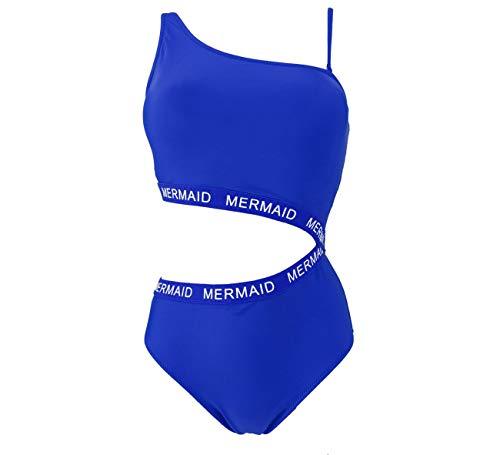 Women's One Piece Mermaid Style Swimsuit Asymmetrical Swimwear XS-XL – Swimming Costume Designed in Italy (T093-Royal Blue, XL)