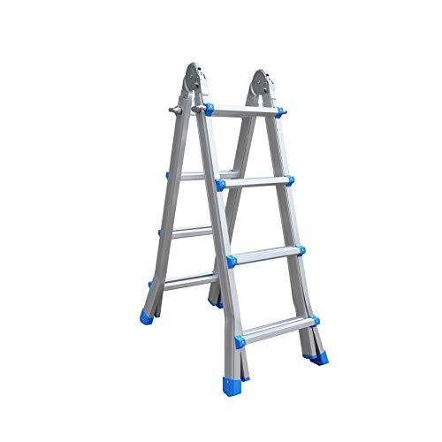 CATTER HOUSE KHG10009 - Escalera de Aluminio Profesional Articulada Multiusos 4x4 Altura Máxima de Trabajo 540 cm