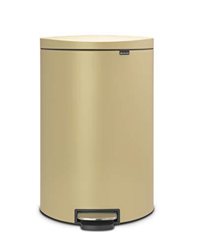 Flatback+ Cubo de basura de Pedal, 40 l, Ahorra Espacio, cubo interior de plástico extraíble, color dorado mineral
