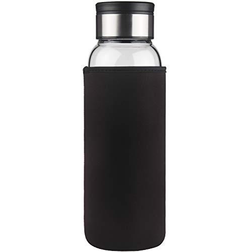 Life4u Borosilikat Trinkflasche Glas Wasserflasche mit Neoprenhülle BPA Free 1500 ml (Schwarz)