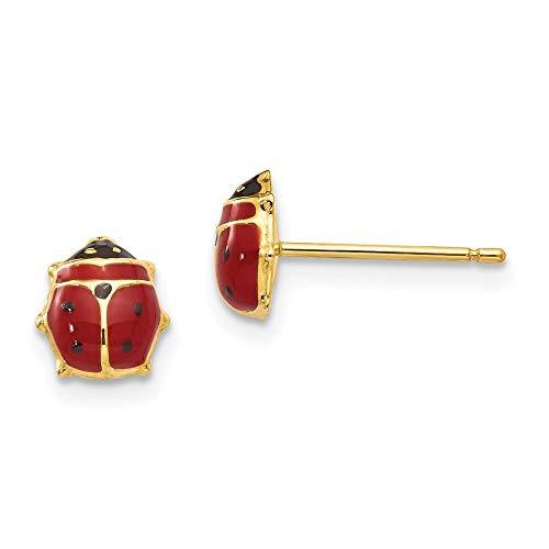 14k Yellow Gold Enameled Ladybug Post Earrings