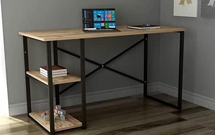 Athena - Escritorio para ordenador, de madera y acero, con estante, aprox. 72 x 60 x 120 cm