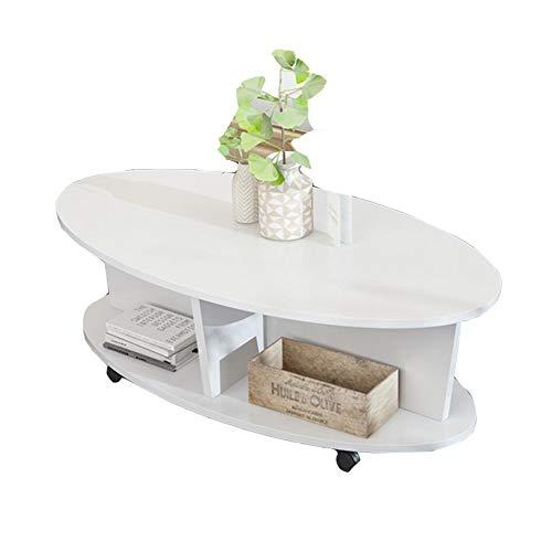 YNN Table Table Basse Ovale, Mini Table de Chevet Table de Chevet/Table de Chevet Mobile pour Salle de séjour en MDF Multifonction (Noir/Naturel/Blanc/Jaune) 80 * 40 * 40cm (Couleur : Blanc)