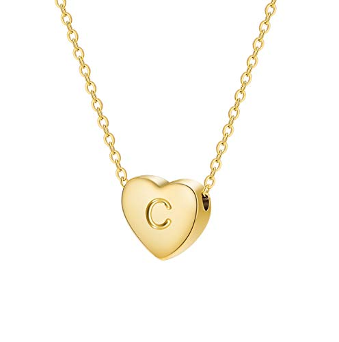 Dainty Heart Initial Necklace Letters C Alphabet Pendant Necklace Heart 18K Real Gold Plated Personalized Necklace for Girl Women