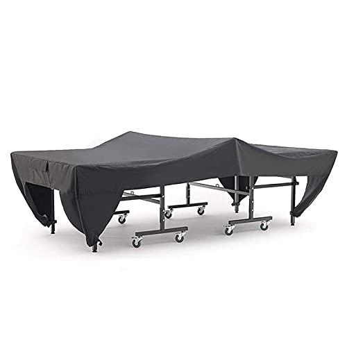 Funda Protectora para Mesa de Ping Pong para Exterior/Interior, Impermeable, Resistente al Viento, Tela Oxford Resistente - Negro,Beige-TAMAÑO (280x154x76cm)
