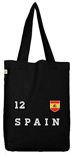 ShirtStreet Espana Spain Fußball WM Fanfest Gruppen Bio Baumwoll Jutebeutel Stoffbeutel Trikot Spanien, Größe: onesize,Black