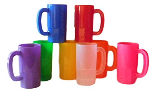 Affordable 8 Small Kids Mugs-Cups, Holds 14 Oz. 1 ea Pink Purple Orange Yellow Green Red Blue Froste...