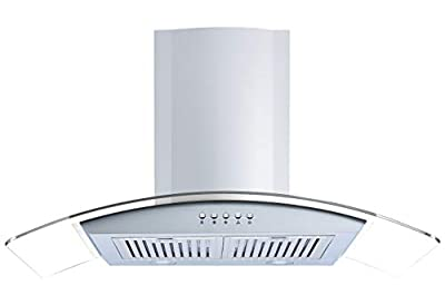 Winflo 30 In. Convertible Stainless Steel/Glass Wall Mount Range Hood with Stainless Steel Baffle Filters and Push Button Control