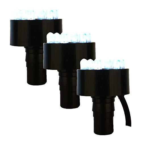 Köhko 3er-Set LED-Ring-Beleuchtung inkl. 2 Meter Anschlusskabel für Quellsteinbrunnen 29002-3er Kaltweiß