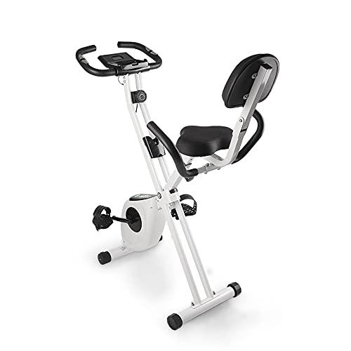 bigzzia Heimtrainer, Fitness Bike mit Handpulssensoren/ Widerstand/LCD Display/Rückenlehne, Klappbar Fahrrad Hometrainer bis 100 kg für Zuhause, Sportler und Senioren