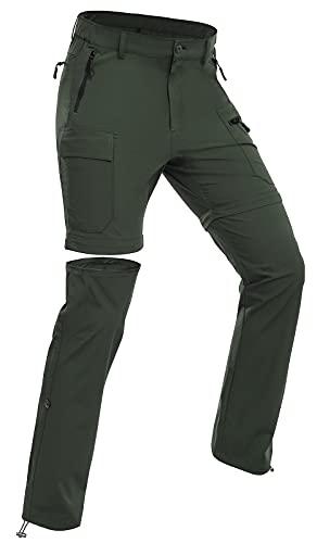 Wespornow Damen-Zip-Off-Wanderhose-Trekkinghose Atmungsaktiv Schnell Trockend Outdoorhose Abnehmbar Funktionshose Stretch Sommer Hosen (Grün, L)