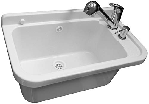 VBChome Ausgussbecken mit Armatur Seifenspender 60 x 35 x 21 cm Spülbecken mit Überlauf Waschbecken für Gewerbe Waschraum Garten inkl. Ablaufgranitur Waschtrog