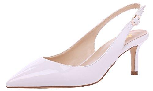 AOOAR Damen Kitten-Heel Bunt Elegante Weiß Lackleder Slingback PumpsSchuhe EU 38