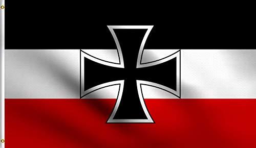 Zudrold Bandera de poliéster de pie 3X5Ft de Bandera de Cruz de Hierro de Jack de Alemania alemán