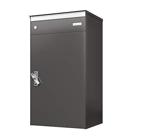 Stebler sbox 17 Briefkasten mit gesichertem Paketschliessfach, einfacher Selbstmontage, hochwertigem und rostfreiem Aluminium, 440 x 800 x 340 mm, Handgefertigt, Patina Anthrazit Glimmer