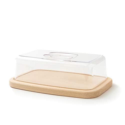 QUALITÀ in legno di faggio: Tagliere di alta qualità con canale di scolo. Contenuto della confezione: 1 x tagliere con copertura (Dimensioni: 28x18x9 cm; Altezza tra tavola e coperchio: 6 cm). FUNZIONE: Il tagliere può essere utilizzato come tagliere...