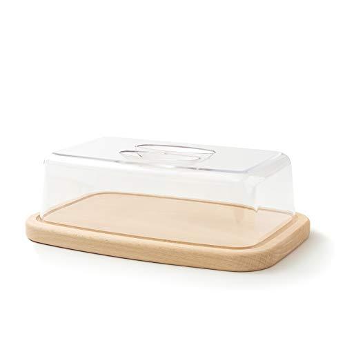 Tuuli Kitchen Formaggiera Tagliere Cucina Legno Antibatterico Piatto Contenitore Porta Formaggio Conservare Pane Affettato Dolci Plastica Rettangolare