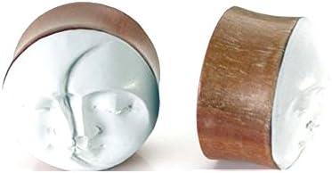 00G - 32mm Saba Wood Plugs With Sono Wood Inlay