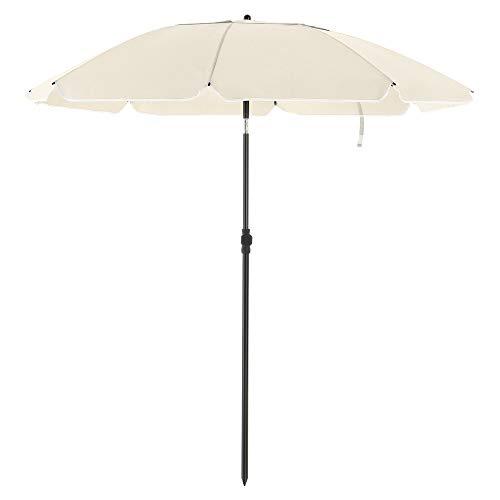 SONGMICS Sonnenschirm für Strand, Ø 200 cm, Gartenschirm, UV-Schutz bis UPF 50+, knickbar, Sonnenschutz, tragbar, Schirmrippen aus Glasfaser, beigeGPU65WTV1
