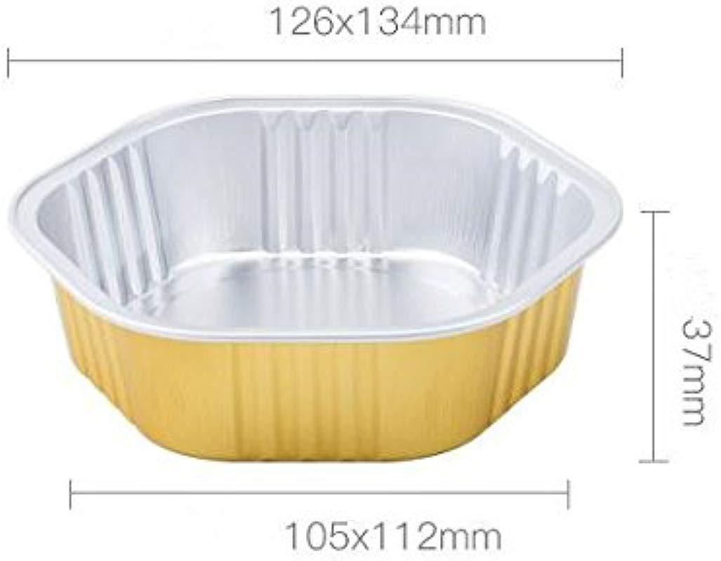 KEISEN Hexagonal 5 330ml 12oz Disposable Aluminum Foil Cups For Muffin Cupcake Baking Bake Utility Ramekin Cup Gold With Lids Gold 50