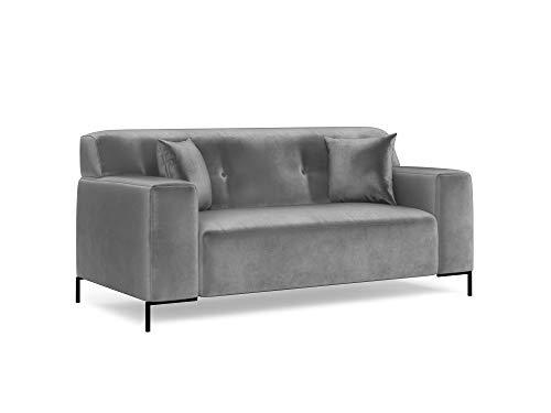 Kooko Home - Sofá de terciopelo, 2 plazas, color gris claro, 180 x 95 x 82 cm