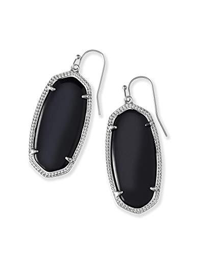 Kendra Scott Elle Drop Earrings for Women, Fashion Jewelry, Rhodium-Plated, Black Opaque Glass