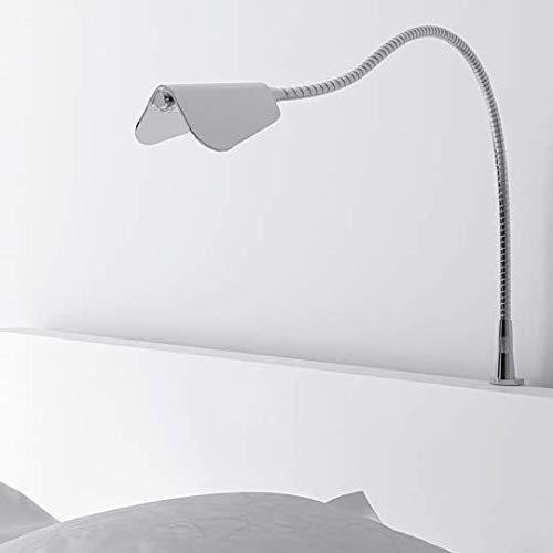 Preisvergleich Produktbild LED Bettleuchte Leseleuchte BUTTERFLY Flexleuchte Nachttischlampe Schwanenhals Aluminium eloxiert / silbergrau mit Schalter 2er Set inkl. Netzteil 230V (Aluminium)