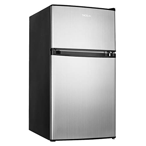 TACKLIFE Compact Refrigerator, 3.2 Cu.Ft, 2-Door Mini Fridge with Freezer, Energy Saving, Removable Glass Shelves, Low Noise suitable for Apartment, Office or Dorm, Silver-MVSFD321