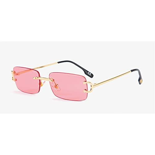 Tanxianlu Gafas de Sol rectangulares sin Montura para Hombres, Gafas de Sol pequeñas de Metal Dorado sin Marco para Mujer, Vintage Uv400, Estilo Veraniego para Mujer,J