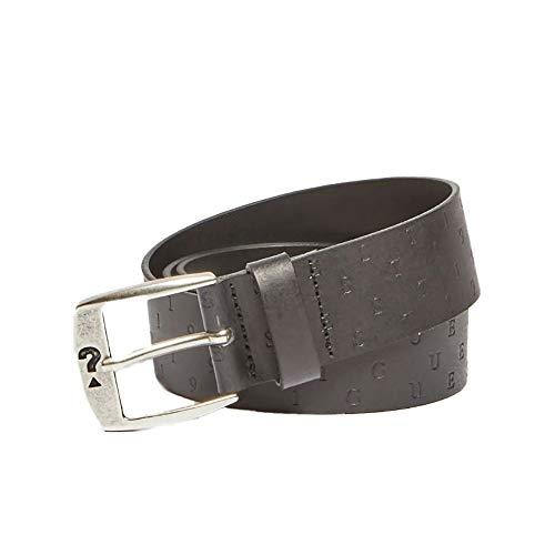 Guess Cintura uomo in vera pelle nera e argento M1RZ08L0OJ0-JBLK L
