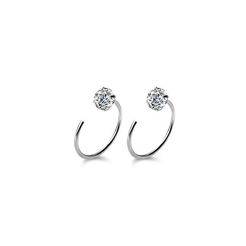 Sparkling Cubic Zirconia Half Hoop Earrings Sterling Silver 925 Dainty Crystal Cartilage Tragus Cuffs Wrap Earring Studs Ear Piercing Hoops Jewelry Gifts for Women Girls Sensitive Ears