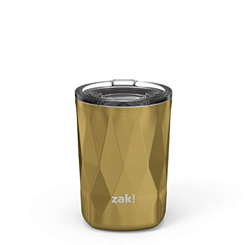 Zak Designs Fractal Vacuum Insulated Stainless Steel Double Old Fashioned Tumbler with Press-In Lid & Splash-Proof Design, Perfect Drinkware for Indoor/Outdoor Activity (13oz, Gold, BPA Free)