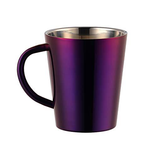 Flatware Color de Arco Iris de Acero Inoxidable Tazas de café con la Pared de la Pared de la Pared del Arco Iris Tazas del Arco Iris Que acampa el Vaso de Viaje para el niño (Color : Purple)