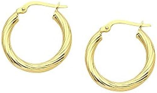 14  Gelb Gold Poliert Rund aus Spirale Hoop Ohrringe