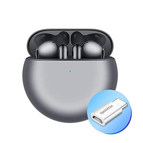 Huawei FreeBuds - 4 Auriculares con diseño Open-Fit inalámbrico Bluetooth, Adaptador AP52, cancelación del Ruido Activo híbrido, Triple micrófono, conexión de Audio Inteligente, Silver Frost