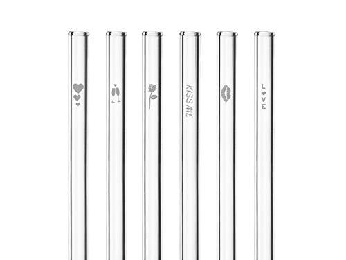HALM Glas-Strohhalme - Love Edition - Valentinstag Geschenk - 6 Stück gerade 20 cm mit Gravur - Valentinstag Deko - Wiederverwendbare Glas-Trinkhalme - Glasstrohalme
