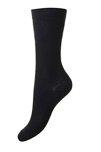 HJ Hall Damen The Original Cotton Softop Socken, Blue (Navy), 20-24
