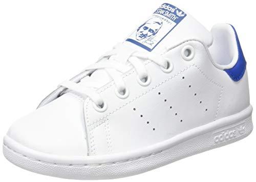adidas Stan Smith C, Scarpe da Ginnastica Basse Unisex-Bambini, Multicolore (Ftwwht/Ftwwht/Eqtblu), 34 EU