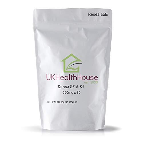 Premium - High Strength Omega 3 Fish Oil 550mg x 30 Capsules - Heart Health - DHA - EPA