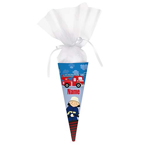 Striefchen® brandheiße Feuerwehr Zuckertüte mit Namen des Kindes - toll für kleine Feuerwehrleute die in die Schule kommen 28 cm