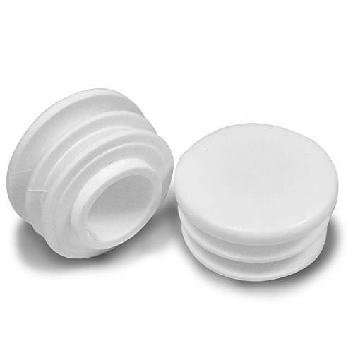 ajile - 4 piezas - Contera redonda acanalada para tubos - diámetro 50 mm - BLANCA - EPR250-M