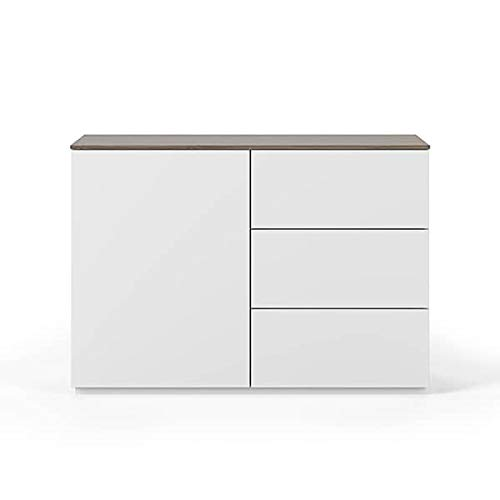 Buffets Design et élégants, Collection Join, signée TEMAHOME. - Join 120H2, Base Classique, Blanc Mat, Plateau en Noyer