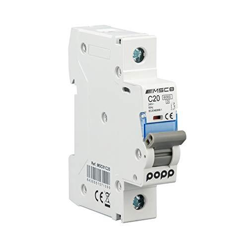 POPP Interruptor Automático Magnetotérmico industrial CURVA C 1P 2P 3P + 6A 10A 16A 20A 25A 32A 40A 50A 63A … (1P, 20A)