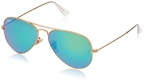 Ray-Ban RB3025 Classic Polarized Aviator Sunglasses, Matte Gold/Green on Green Mirror, 58 mm