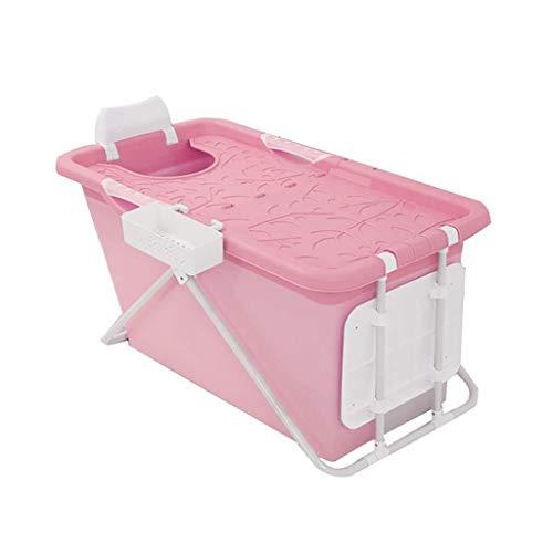 Erwachsene Badewanne, Klappbare Badewanne Mit Deckel Rutschfeste Sommer Erwachsene Größe Badeeimer Kann Zu Hause Kinder Schwimmen Bad Barrel TINGTING (Color : Pink, Size : 110 * 59 * 57cm)