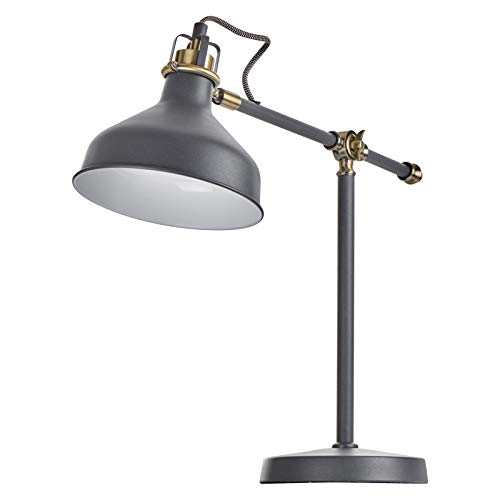 EMOS Design Schreibtischlampe HARRY, Vintage Tischleuchte mit E27-Fassung/klassische Metall Nachttischlampe mit Netzkabel/weiße Retro Leselampe mit verstellbarem Lampenarm, schwarz
