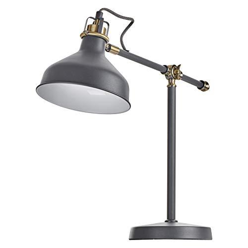 EMOS Design Schreibtischlampe HARRY, Vintage Tischleuchte mit E27-Fassung/klassische Metall Nachttischlampe mit Netzkabel/weiße Retro Leselampe mit verstellbarem Lampenarm