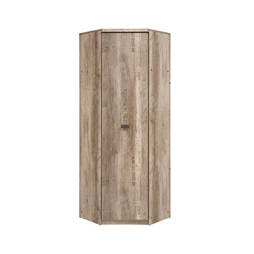 SMARTBett Malkolm - Armario esquinero de 74,5 cm, 1 puerta de roble Canyon con escritura, armario de esquina para dormitorio, armario de entrada, armario de lavandería, armario de sistema