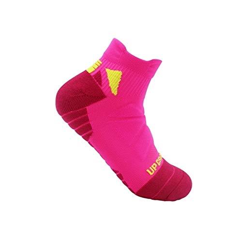 North cool Rosa + Gelb Herrensocken for Laufende Frauen Radfahren Radfahren Fahrrad-Fußball-Fußball Breathable Socken Basketball-Sport-Socken (Color : Pink+Yellow, Tamaño : 5 Pairs)